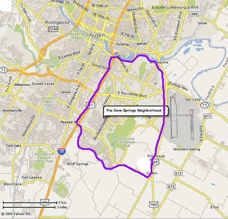 Dovesprings is located in the southeast of Austin