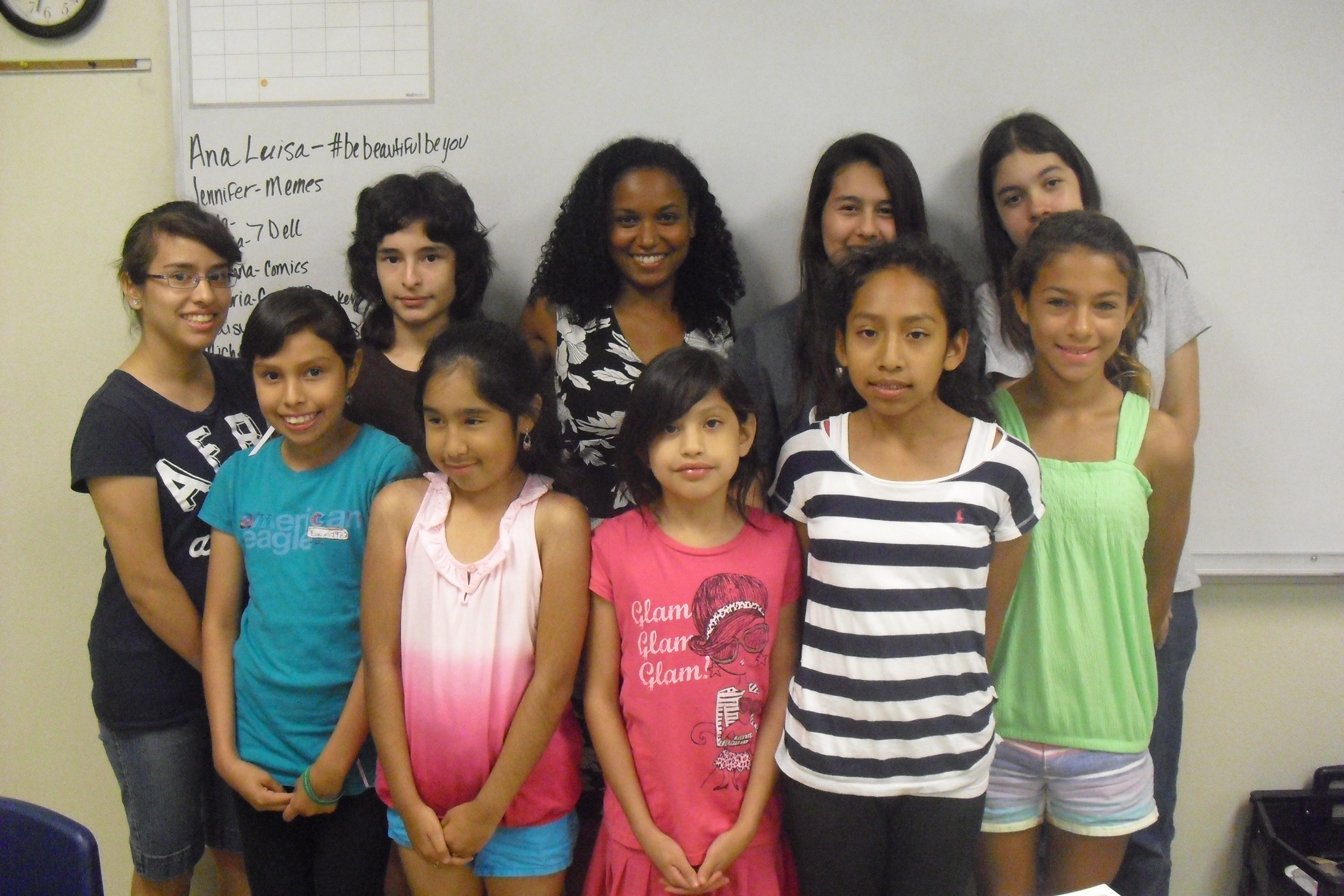 Latinitas girls and I in the last day of the workshop about Locative Media
